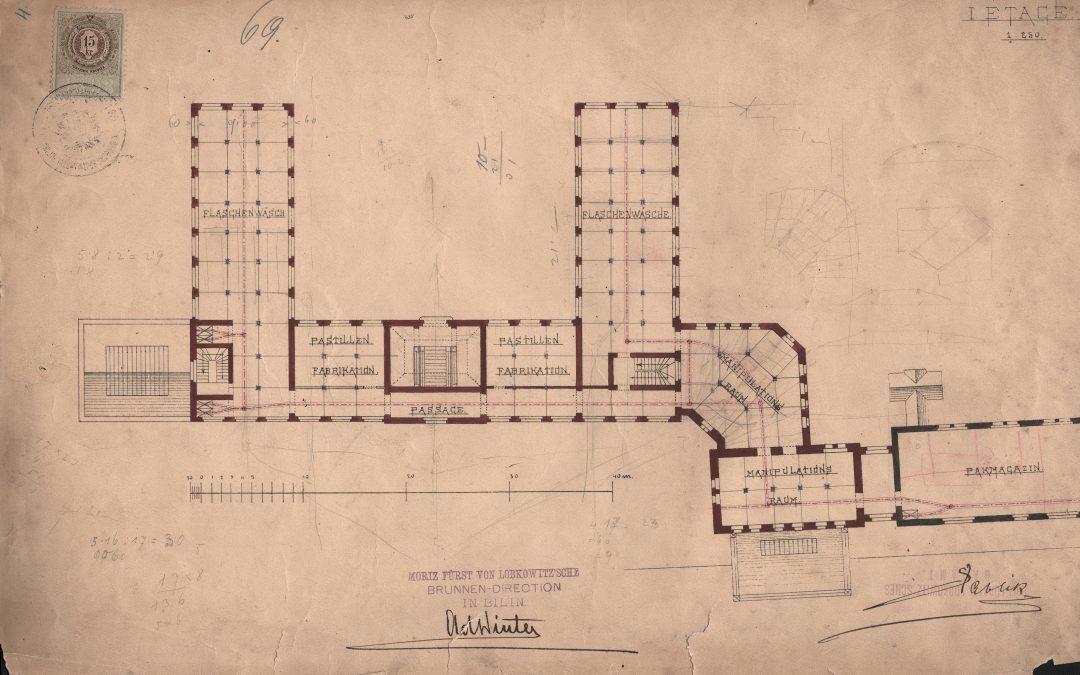 První nákres tovární budovy (Mořic Lobkowicz, Sáblík)